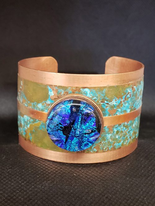 Blue Dichroic Glass & Copper Bracelet
