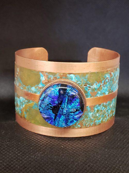 Blue Dichroic Glass & Copper Bracelet