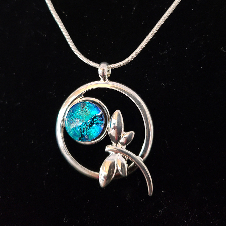 Dichroic Glass Dragonfly Necklace