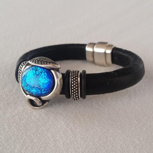 Blue Dichroic Leather Bracelet