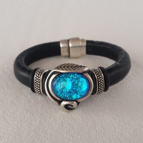 Blue Dichroic Leather Bracelet