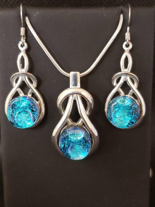 Blue Dichroic Glass Earring & Pendant Set