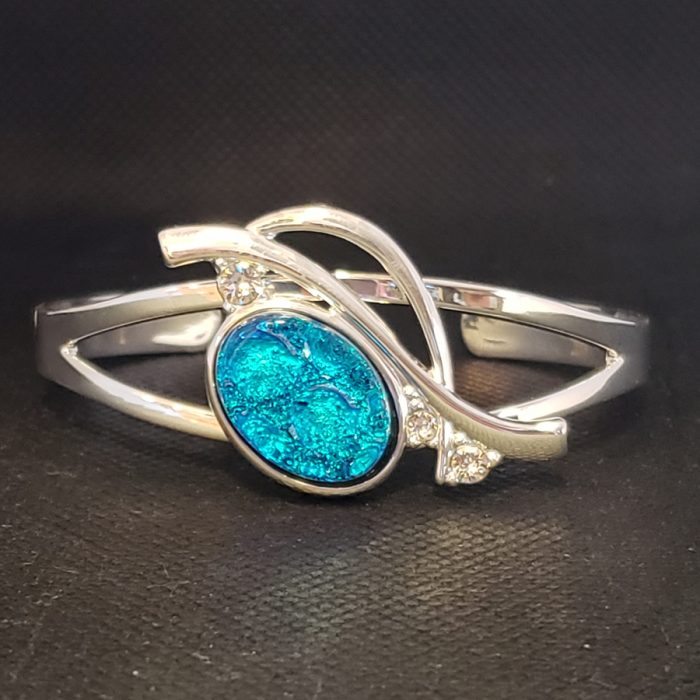 dichroic glass and diamond bracelet