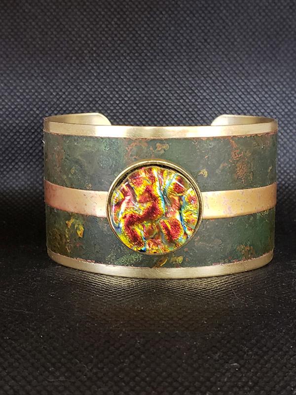 Yellow Dichroic Glass & Copper Bracelet